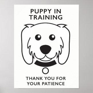 Welpe im Trainings-Zeichen Poster