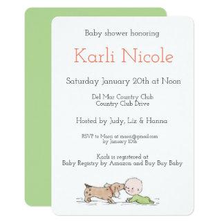 Welpe küsst Babyparty-Einladungen Karte