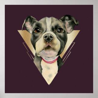 """""""Welpe mustert"""" das Pitbull-HundeAquarell, das 4 Poster"""