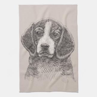 Welpen-Beaglehund des Küchentuches niedlicher Handtuch