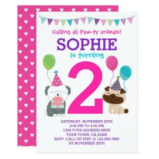 Welpen-Geburtstags-Einladung für Mädchen Karte