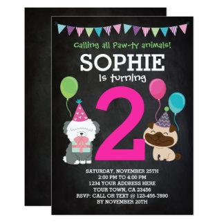 Welpen-Geburtstags-Einladung für Mädchen, Tafel Karte