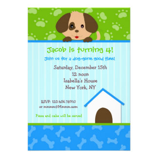 Welpen-Hundegeburtstags-Party Einladungen
