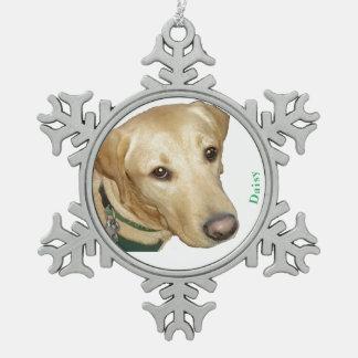 Welpen-Liebe-Weihnachtsverzierung - fertigen Sie Schneeflocken Zinn-Ornament