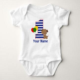 Welpen-Marine-Streifen-erstes Geburtstags-Shirt Baby Strampler