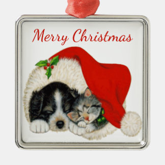 Welpen-und Kätzchen-Weihnachtsverzierung Silbernes Ornament