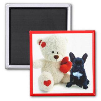 Welpenmagnet der französischen Bulldogge des Quadratischer Magnet