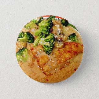 Wels-Brokkoli Piccata Nahrung, die Abendessen Runder Button 5,1 Cm