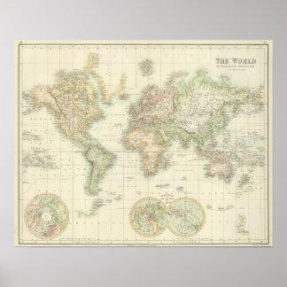 Welt auf Mercators Projektion Poster