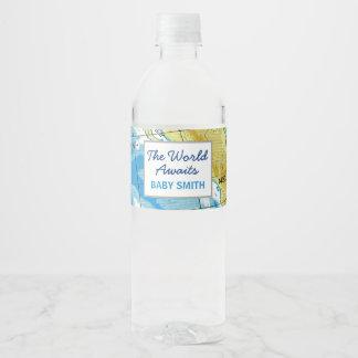 Welt erwartet Babyparty-Wasser-Flaschen-Aufkleber Wasserflaschenetikett