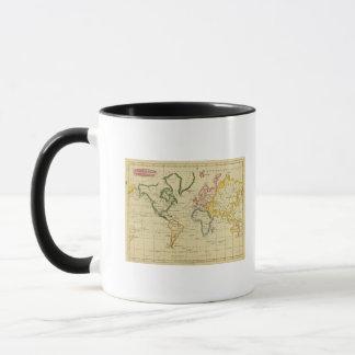 Welt gravierte Karte Tasse