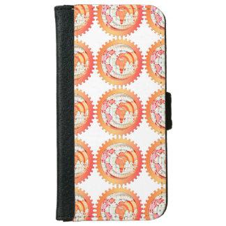 Welt, Kugel, Kontinente. Orange und Weiß iPhone 6/6s Geldbeutel Hülle