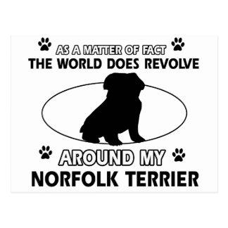 Welt rotiert um meinen Norfolk-Terrier Postkarte