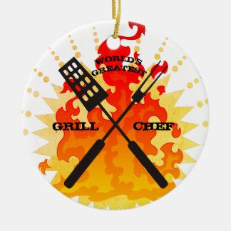 Weltbeste Grill-Koch Weihnachtsverzierung Keramik Ornament