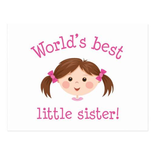 Weltbeste kleine Schwester - braunes Haar Postkarten