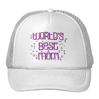 Weltbeste Mamma-lila Stern-Wonky Schriftart Baseball Kappen