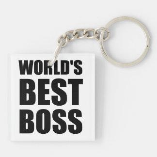 Weltbester Chef Beidseitiger Quadratischer Acryl Schlüsselanhänger