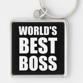 Weltbester Chef Silberfarbener Quadratischer Schlüsselanhänger