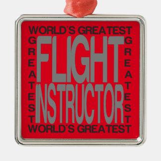 Weltbester Flug-Lehrer Silbernes Ornament