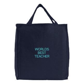 WELTbester LEHRER Bestickte Einkaufstasche