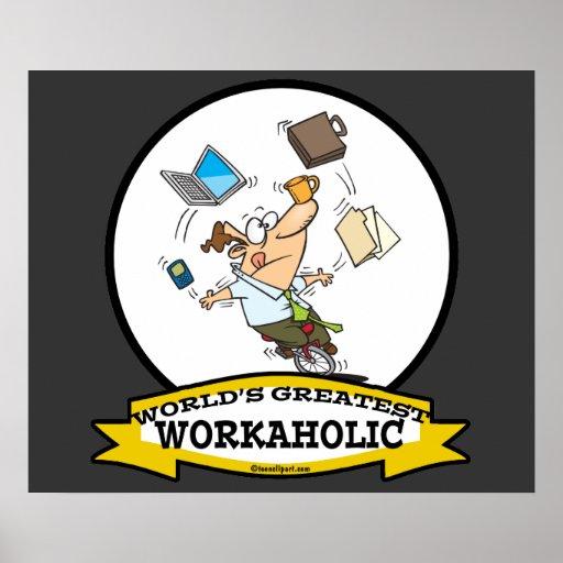 WELTBESTER WORKAHOLIC-MANN-CARTOON PLAKATDRUCKE