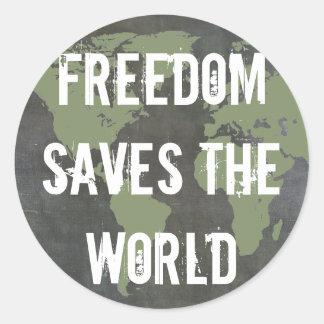 Weltfreiheits-Aufkleber Runder Aufkleber
