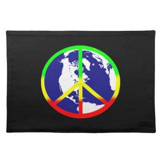 Weltfrieden auf Schwarzem Stofftischset