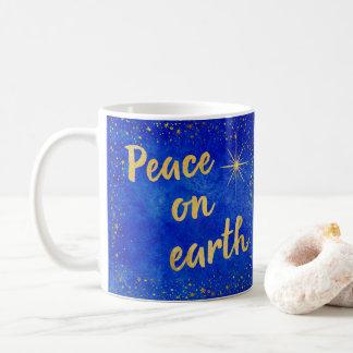Weltfrieden-Blau-und Goldweihnachten Kaffeetasse