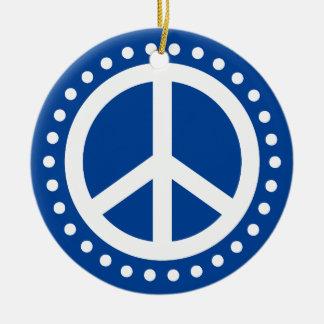 Weltfrieden-blauer und weißer Polka-Punkt Keramik Ornament