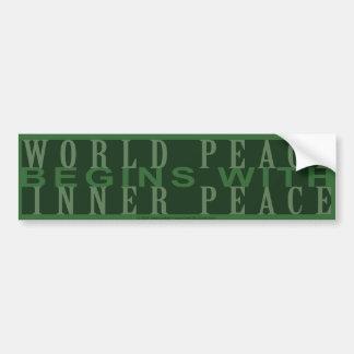 Weltfrieden fängt mit innerem autoaufkleber