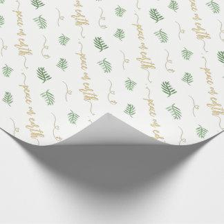 Weltfrieden-Grün und Goldwatercolor-Muster Geschenkpapier