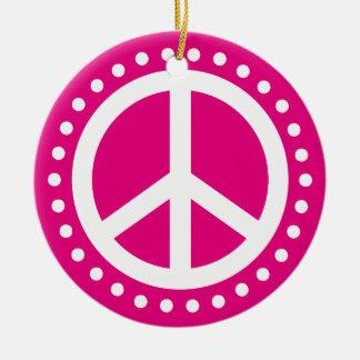 Weltfrieden-heißes Rosa-und Weiß-Polka-Punkt Keramik Ornament
