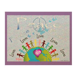 Weltfrieden in Lila Holzleinwand