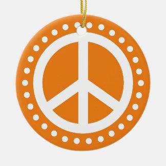 Weltfrieden-orange und weißer Polka-Punkt Keramik Ornament