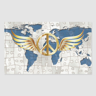 Weltfrieden Rechteckiger Aufkleber