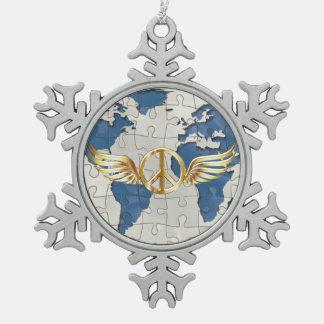 Weltfrieden Schneeflocken Zinn-Ornament