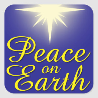 Weltfrieden-Stern-Weihnachtsaufkleber Quadratischer Aufkleber