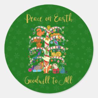 Weltfrieden-Tier-Baum des Leben-Feiertags Runder Aufkleber