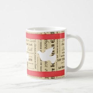 Weltfrieden-Typografie, roter Bogen, tauchte Kaffeetasse
