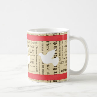 Weltfrieden-Typografie, roter Bogen, tauchte Tasse