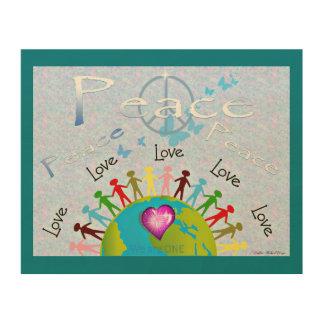 Weltfrieden u. -Liebe Holzwanddeko