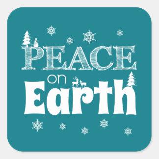 Weltfrieden-Weihnachten Quadratischer Aufkleber