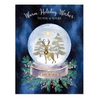 Weltfrieden-Weihnachtsren-Schnee-Kugel Postkarte