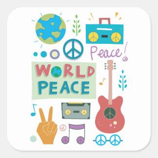Weltfriedenssymbol-Aufkleber Quadratischer Aufkleber