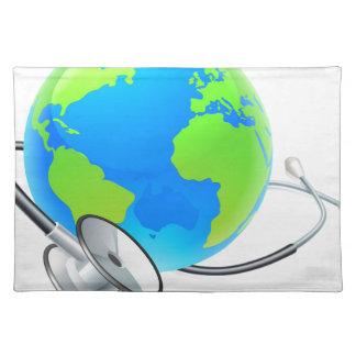 Weltgesundheits-Tageserdstethoskop-Kugel-Konzept Stofftischset