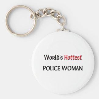 Weltheißeste Polizei-Frau Standard Runder Schlüsselanhänger