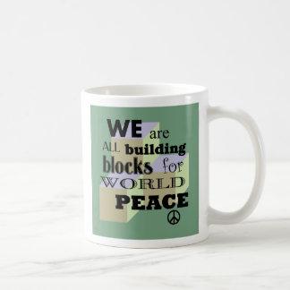 Weltherstellung- des friedensblöcke kaffeetasse