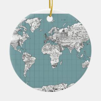 Weltkarte 10 keramik ornament