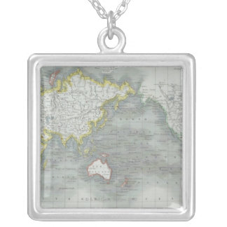 Weltkarte 13 versilberte kette