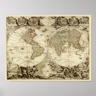 Weltkarte 1708 durch Jean Baptiste Nolin Poster